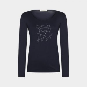 t-shirt navy with hand embroidery
