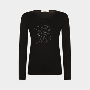 t-shirt black with hand embroidery