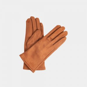 Cognac Stretch Gloves Suedine