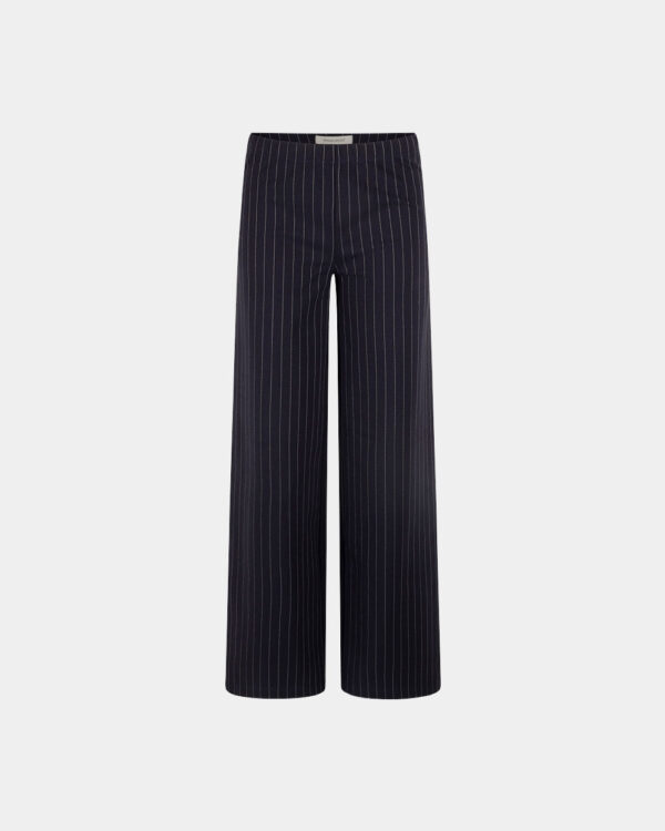 pinstripe wide pants navy front