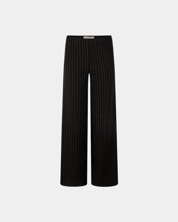 pinstripe wide pants black front