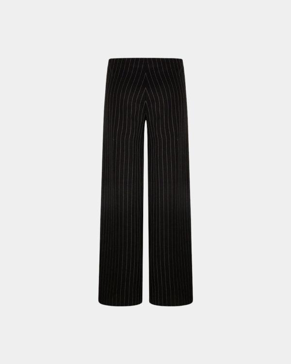 pinstripe wide pants black back