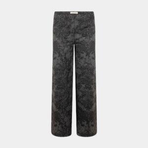 print wide pants black back