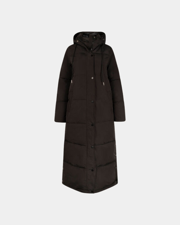 black long padded coat with hood front