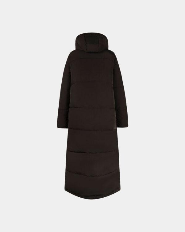 black long padded coat with hood back