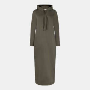army green hoodie dress front
