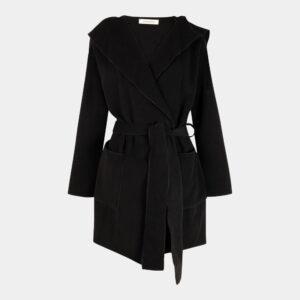 black loose unlined jacket front