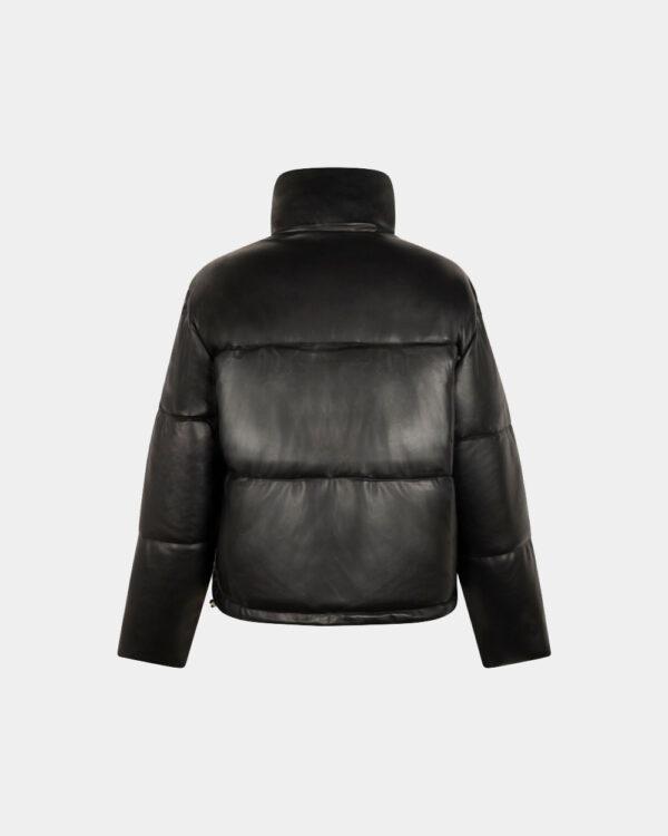black short padded jacket back