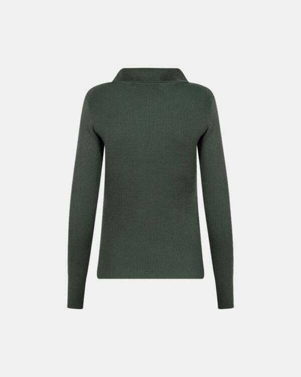 back polo long sleeves in jade