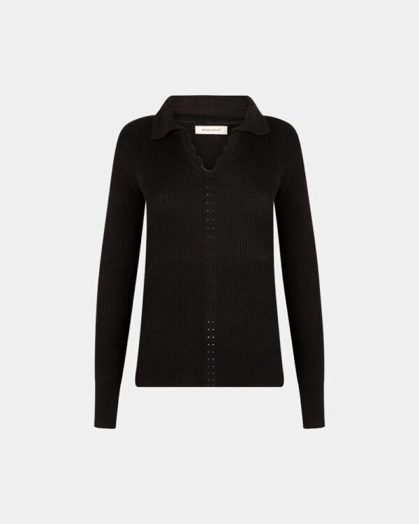 front polo long sleeves in black