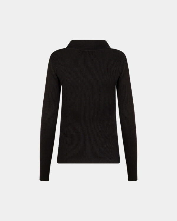 back polo long sleeves in black