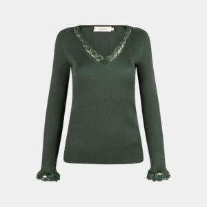 v-neck knitted top in jade