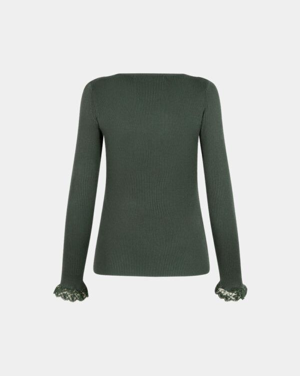v-neck knitted top in jade back