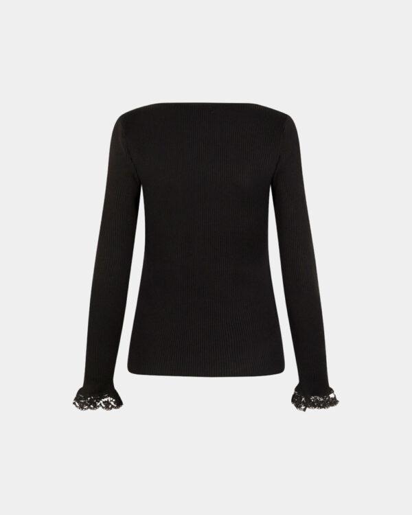 v-neck knitted top in black back