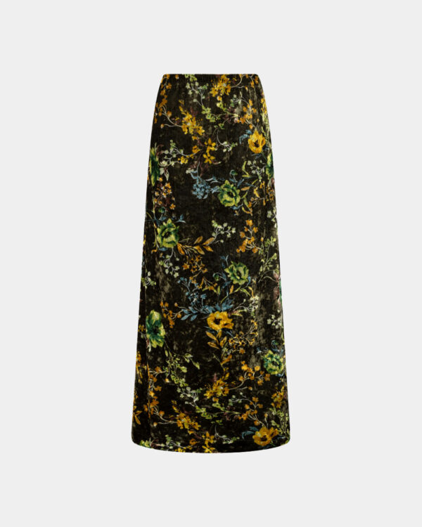 maxi skirt with flowerly print in green
